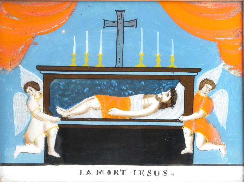 peinture sous verre : LA 'MORT IESUS' (titre inscrit)