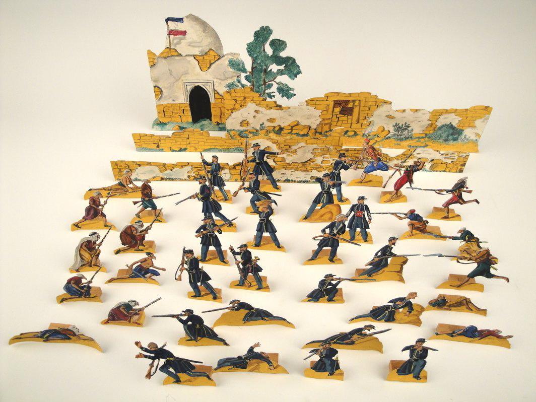 DIETRICH Lucien (peintre), KLAENSCHI Georges (dessinateur, maquettiste) : soldats et décors du combat de Sidi-Brahim, 1845 (titre factice)