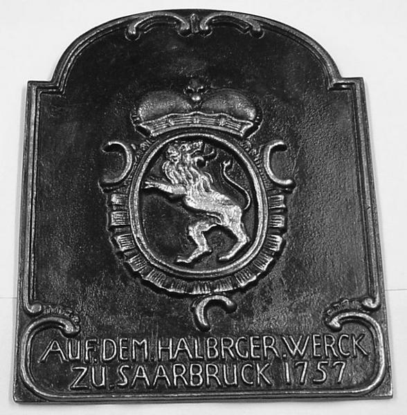 HALBERGHUTTE (fabricant) : AUF DEM HALBRGER WERK ZU SAARBRUCK 1757 (titre inscrit)