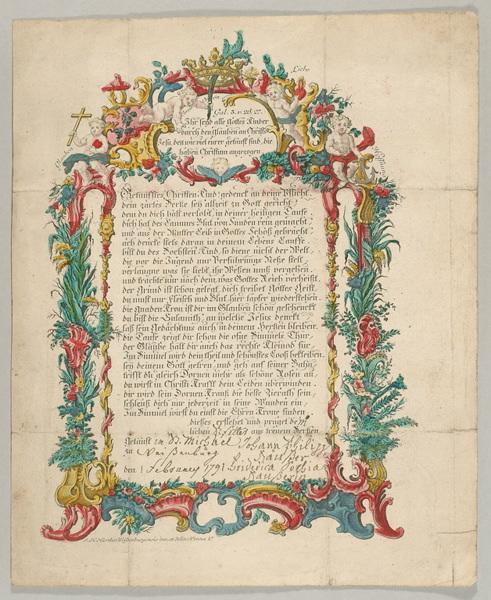 HIERTHES Jean Henri (dessinateur, imprimeur), RUGENDAS Jeremias Gottlob (graveur) : lettre de baptême