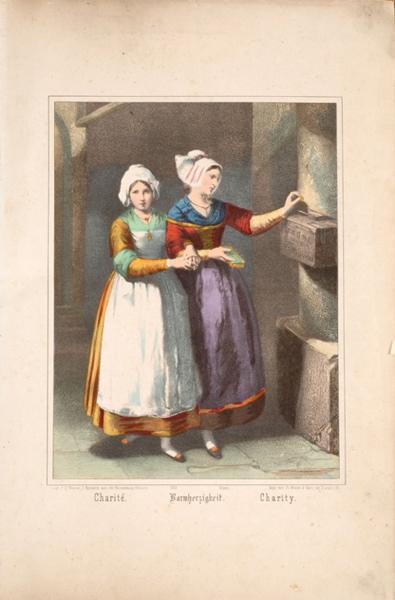 BURCKARDT Camille (lithographe, éditeur) : Charité. (titre inscrit, français, allemand, anglais)