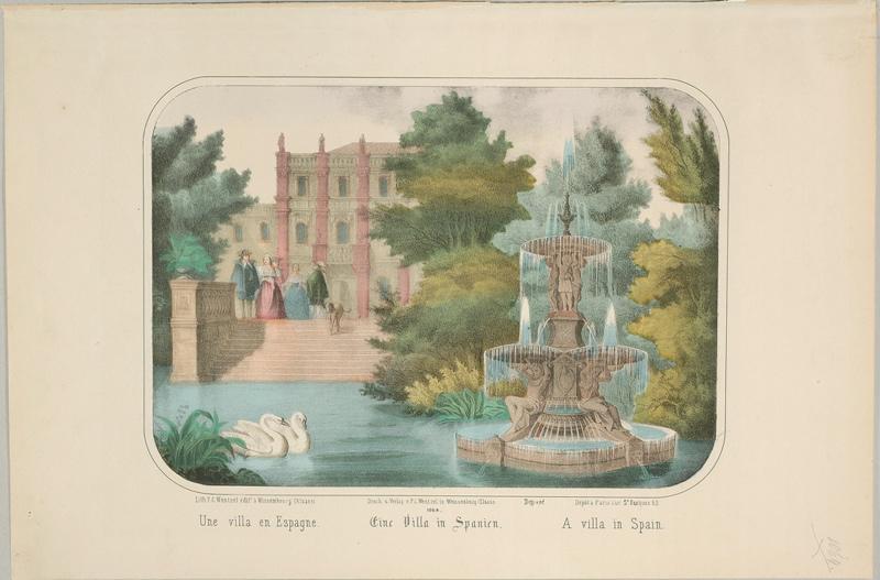 WENTZEL Frédéric Charles (lithographe, éditeur) : Une villa en Espagne (titre inscrit, français, allemand, anglais)