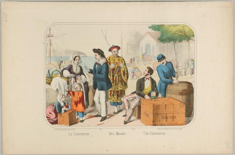 WENTZEL Frédéric Charles (lithographe, éditeur) : Le Commerce. (titre inscrit, français, allemand, anglais)