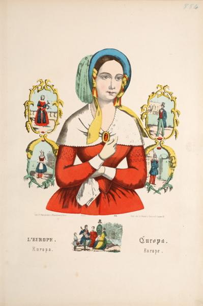 WENTZEL Frédéric Charles (lithographe, éditeur) : L'EUROPE. (titre inscrit, français, allemand, anglais, espagnol)