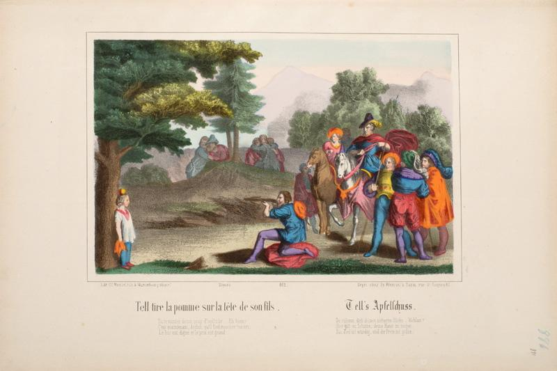 WENTZEL Frédéric Charles (lithographe, éditeur) : Tell tire la pomme sur la Tête de son fils. (titre inscrit, français, allemand)