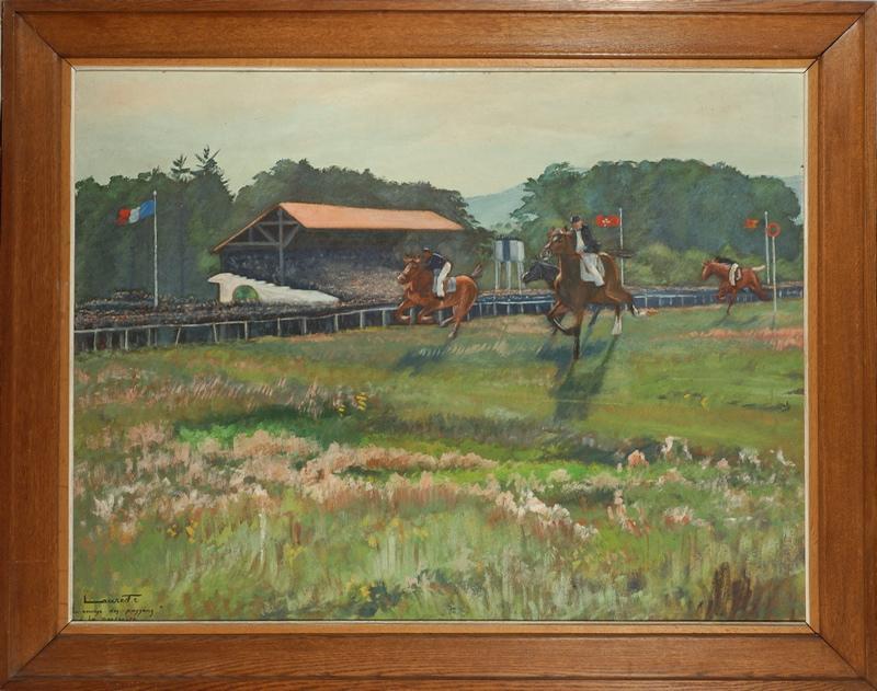LAURET Robert (peintre) : La course des paysans / à la Pentecôte (titre inscrit)
