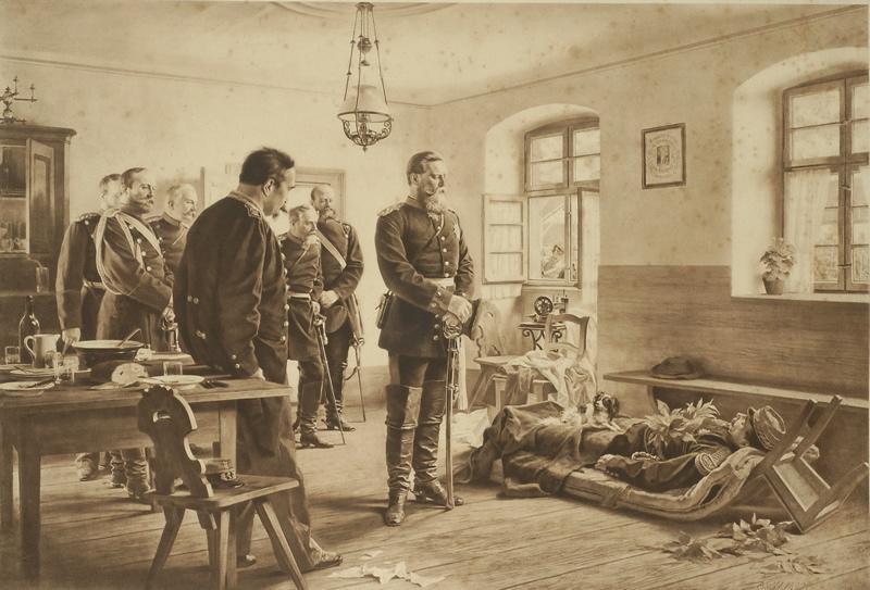 WERNER Anton von (d'après) (peintre), MERKUR (imprimeur) : KRONPRINZ FRIEDRICH WILHELM AN DER LEICHE DES GENERALS ABEL DOUAY (titre inscrit)