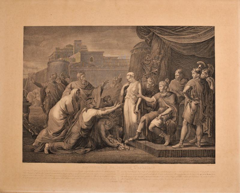 THOUVENIN Jean (graveur), CAMUCCINI Vincenzo (d'après, peintre), AVANZO Sébastien (éditeur) : Magnanimité de Scipion l'Africain