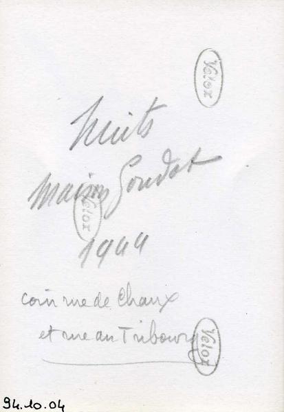 Nuits / Maison Goudot / 1944 / coin rue de Chaux / et rue du Tribourg (titre inscrit)