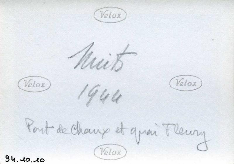 Nuits / 1944 / Pont de Chaux et quai Fleury (titre inscrit)
