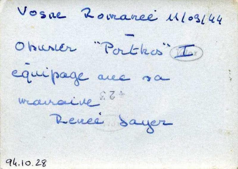 Vosne Romanée 11/09/1944 / Obusier 'Porthos' I / équipage avec sa / marraine / Renée Jayer (titre inscrit)_0