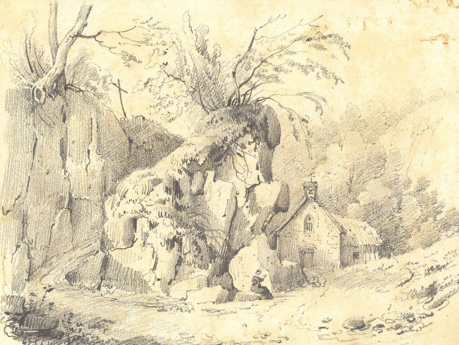 Chemin escarpé avec chapelle, calvaire et jeune femme lisant (titre factice)