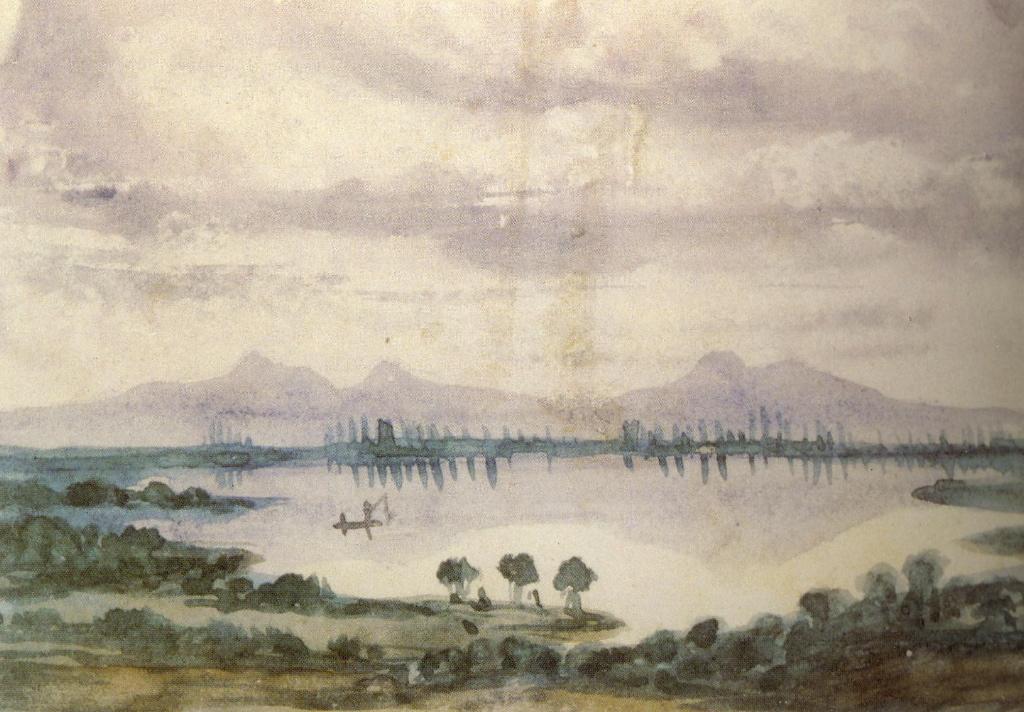 SAND George (dite), DUPIN DE FRANCUEIL Amantine Aurore Lucile (née) (dessinateur) : Paysage de fantaisie : pêcheurs, lac et montagnes