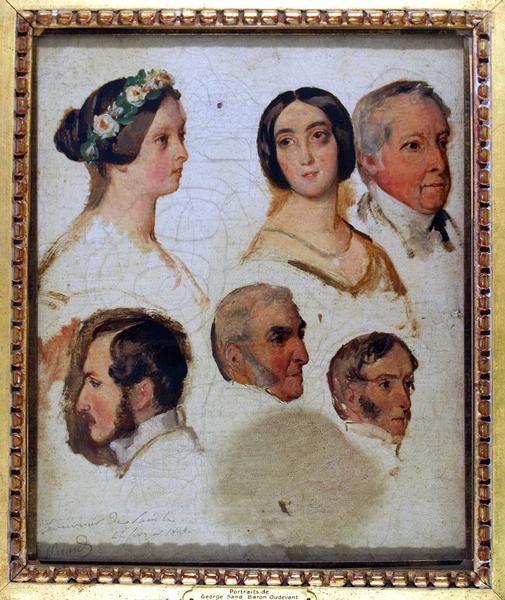 BIARD François Auguste (peintre) : Portraits de George Sand, du baron François dit Casimir DUDEVANT, de Victoria d'Angleterre et de trois personnages non identifiés (titre factice)