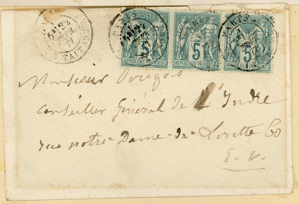 HUGO Victor : Lettre autographe de Victor Hugo aux membres du comité pour la statue de George Sand à La Châtre