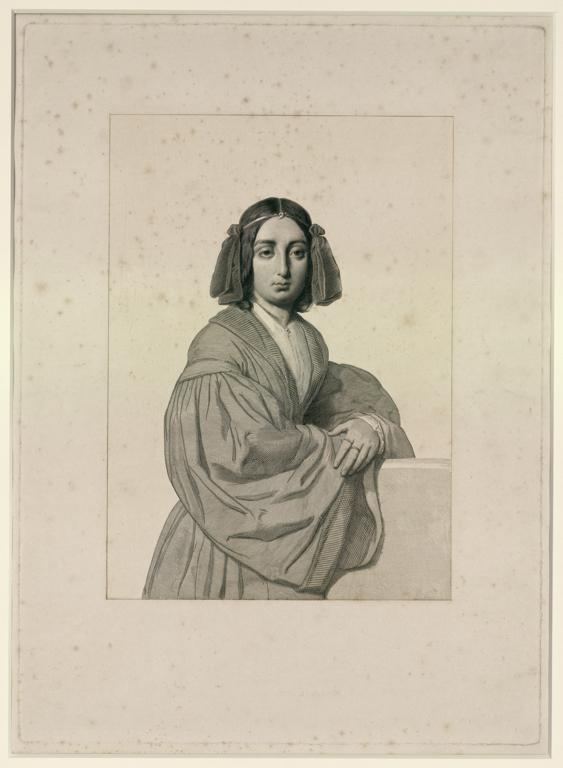 CALAMATTA Luigi (dessinateur, graveur) : Portrait de George Sand ' à la ferronière '