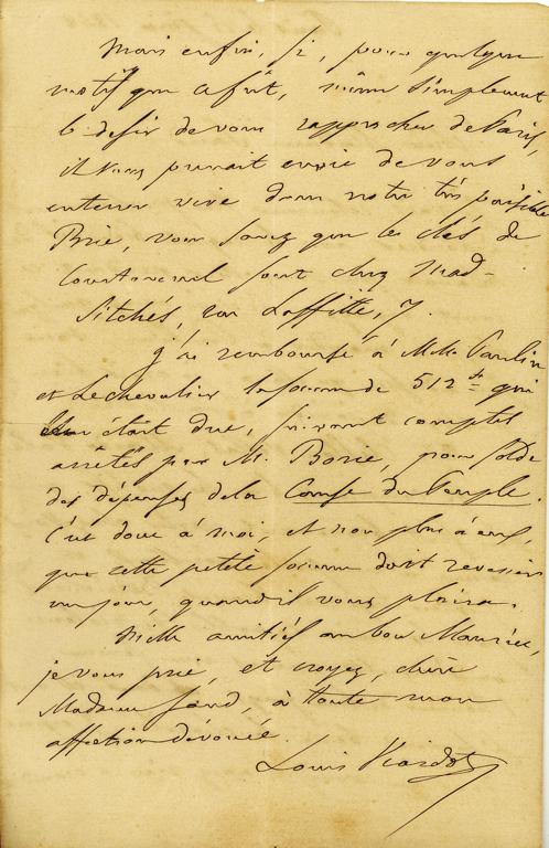 Lettre autographe signée de Louis Viardot à George Sand