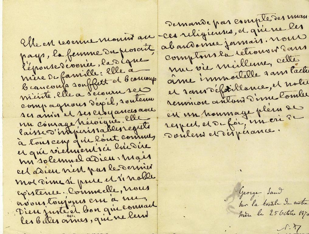 SAND George (dite), DUPIN DE FRANCUEIL Amantine Aurore Lucile (née) : Allocution prononcée par George Sand sur la tombe d'Elisabeth-Laure FLEURY