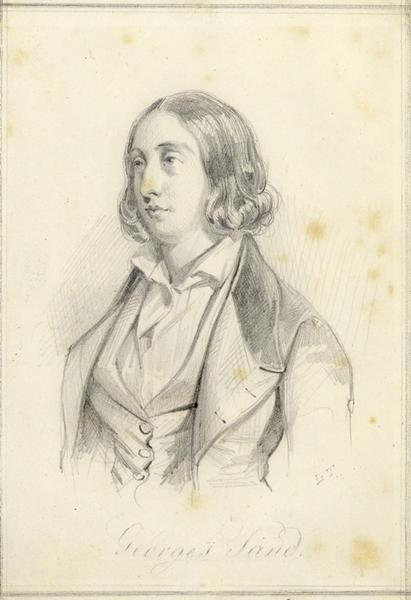 TESSON Louis (dessinateur) : Portrait de George Sand