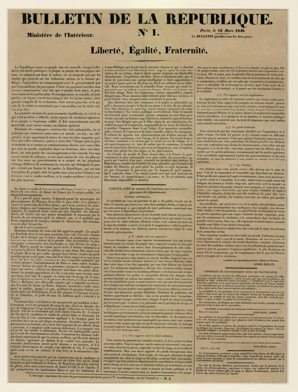 LEDRU-ROLLIN Alexandre Auguste, BLANC Louis, BLANC Albert, DUVERGER (imprimeur) : Bulletin de la République N°1