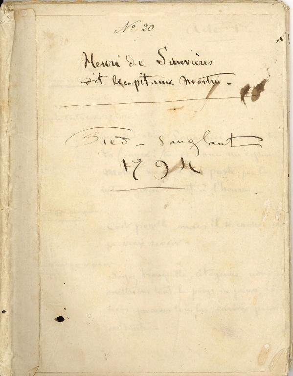 SAND Maurice (dit), DUDEVANT Jean-François Maurice Arnauld (né) : Manuscrit 'Pied sanglant'