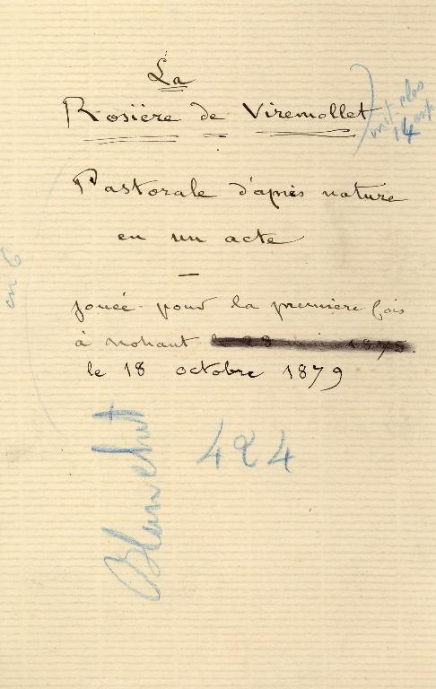 SAND Maurice (dit), DUDEVANT Jean-François Maurice Arnauld (né) : Manuscrit 'La rosière de Viremollet'
