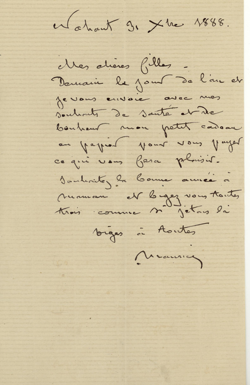 Lettre autographe signée de Maurice DUDEVANT-SAND à ses filles (Aurore et Gabrielle)