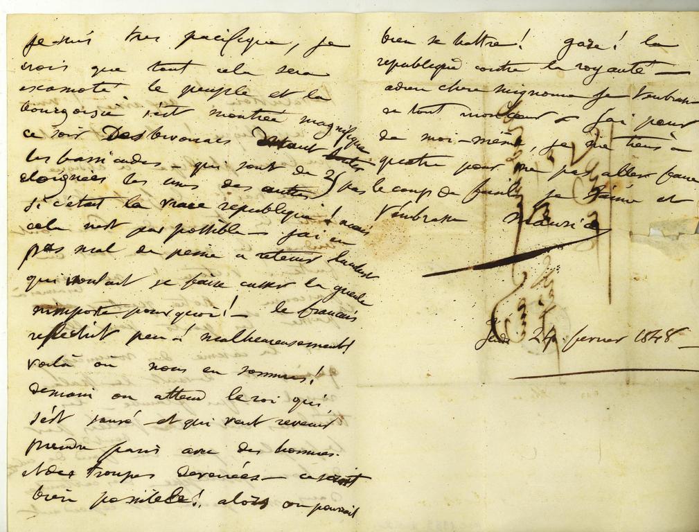 SAND Maurice (dit), DUDEVANT Jean-François Maurice Arnauld (né) : Lettre-enveloppe autographe signée de Maurice DUDEVANT-SAND à George Sand