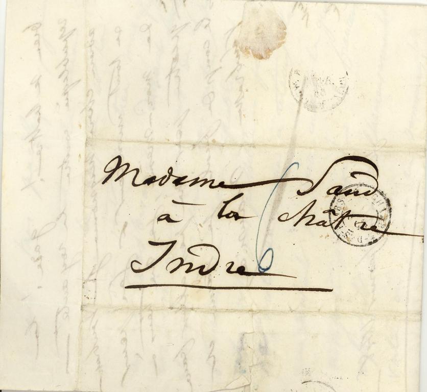 Lettre-enveloppe autographe signée de Maurice DUDEVANT-SAND à George Sand