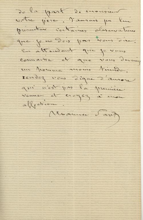 SAND Maurice (dit), DUDEVANT Jean-François Maurice Arnauld (né) : Lettre autographe signée de Maurice DUDEVANT-Sand à Frédéric Lauth