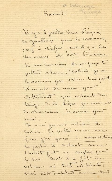 SAND Maurice (dit), DUDEVANT Jean-François Maurice Arnauld (né) : Lettre de Maurice Sand à Solange Clésinger