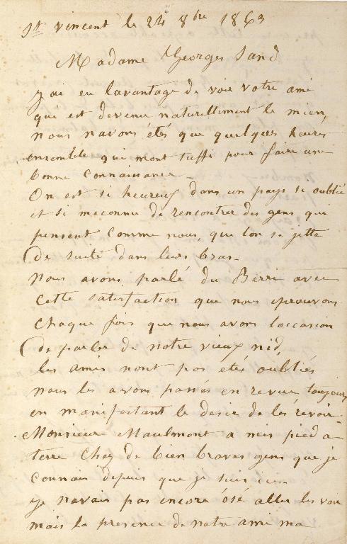 Lettre de Jean PATUREAU, dit Pâtureau-Francoeur à George Sand_0