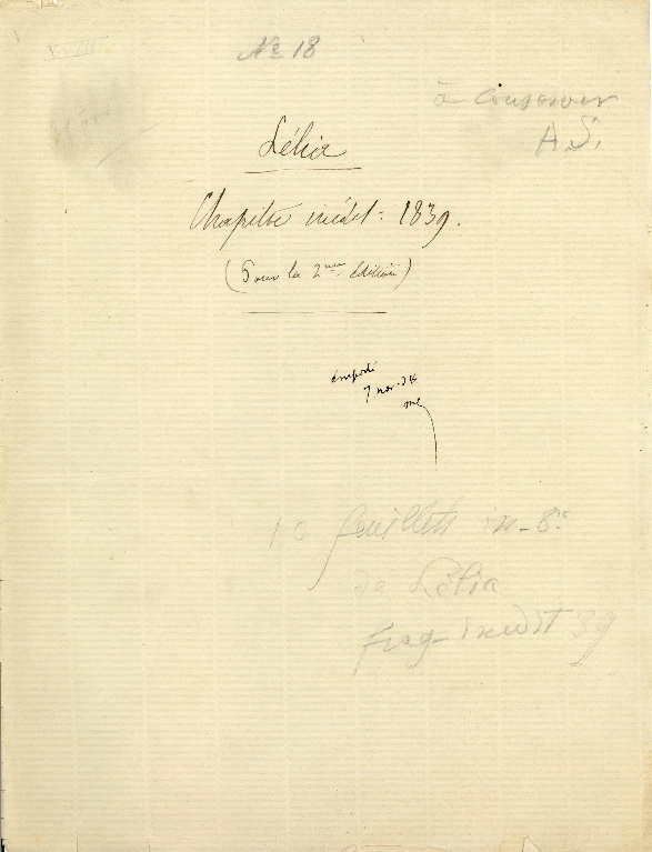 Fragment manuscrit destiné à la Lélia de 1839