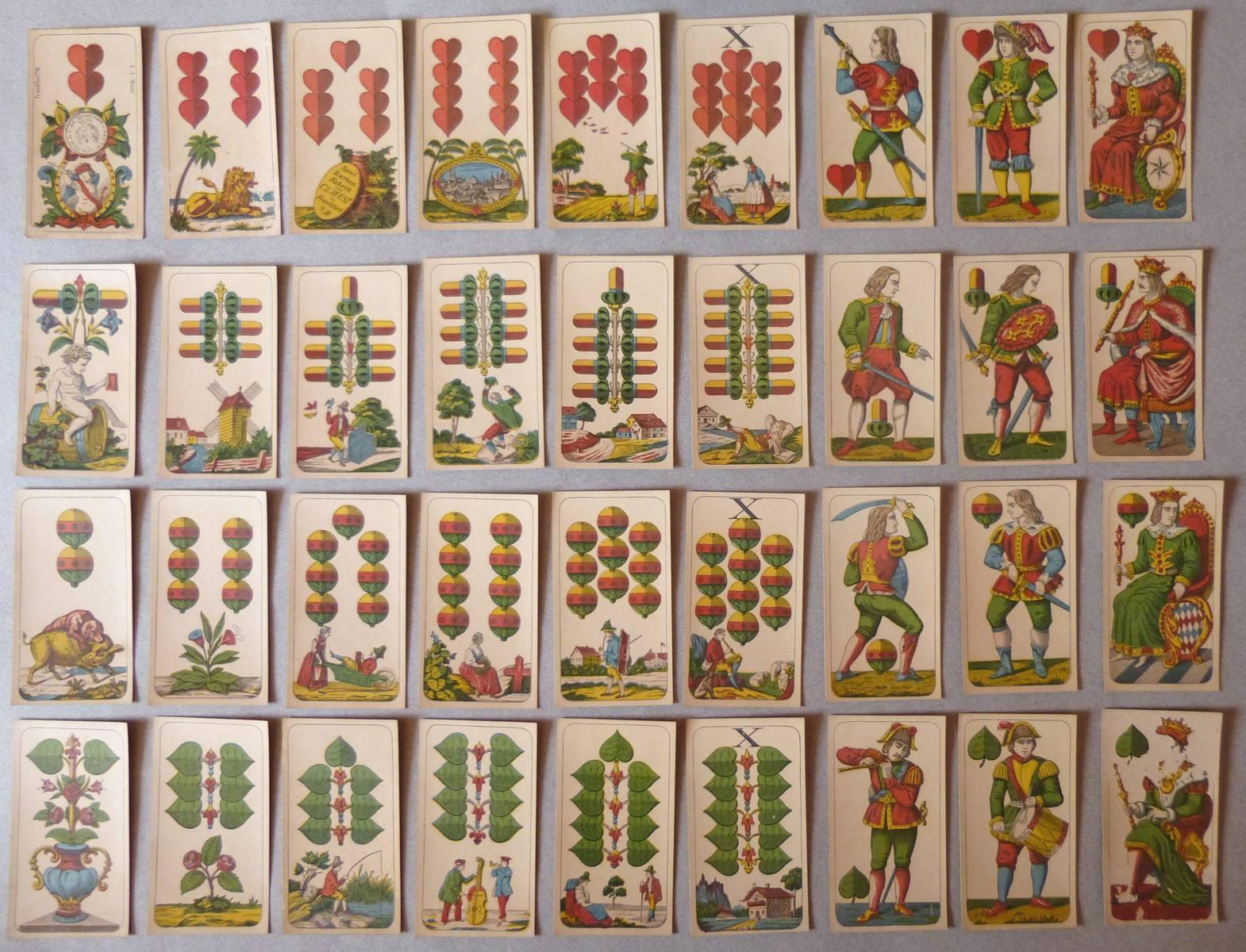 WUST Conrad Ludwig (cartier) : Jeu de cartes allemand au portrait de Bavière type M (Munich)