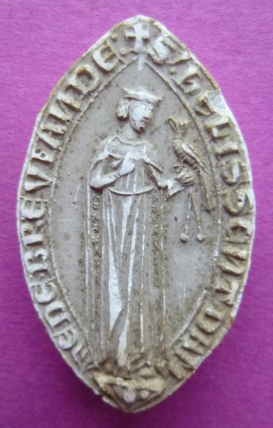 sceau, empreinte : Moulage du sceau de Helissent, dame de Bréviande (titre d'usage)