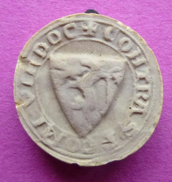 sceau, empreinte : Moulage du contre-sceau armorié de Pierre de Montoire, comte de Vendôme (titre d'usage)