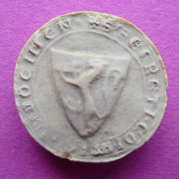 sceau, empreinte : Moulage du contre-sceau armorié de Bouchard V, comte de Vendôme (titre d'usage)
