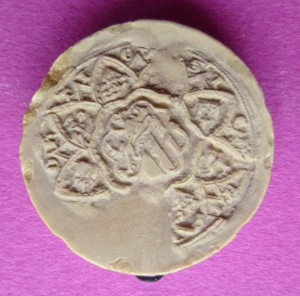 Moulage du sceau armorié de Jeanne de Ponthieu, femme de Jean VI de Vendôme (titre d'usage)_0