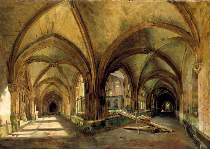 Vue du cloître de Saint-Wandrille_0
