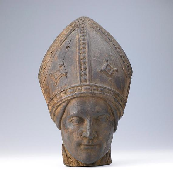 anonyme (sculpteur) : Tête d'évèque