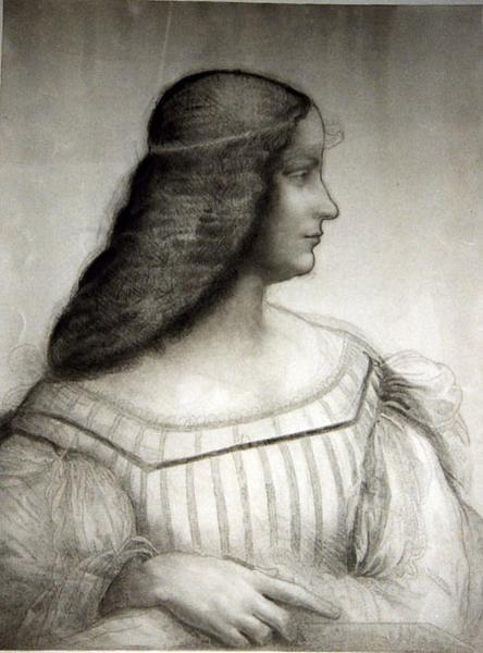 Isabella d'Este ; Carton pour le portrait d'Isabelle d'Este (titre de la chalcographie du Louvre)_0
