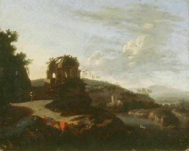 Paysage avec les ruines du temple de Minerva Medica_0