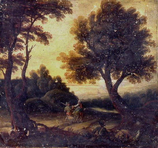 anonyme : Paysage avec chasseur