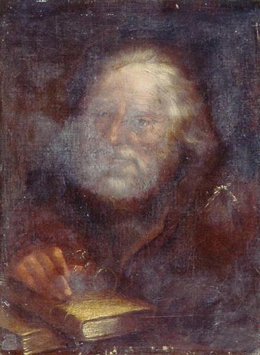 anonyme : Tête de vieillard, Vieillard avec des lunettes et des livres (autre titre)