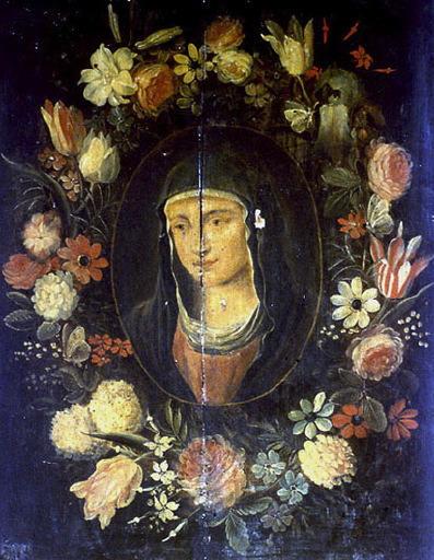 Tête de Vierge entourée de fleurs