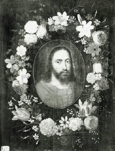 anonyme : Guirlande de fleurs entourant un médaillon du Christ