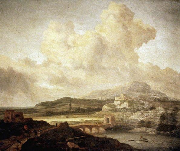 anonyme : Paysage avec village fortifié et moulins