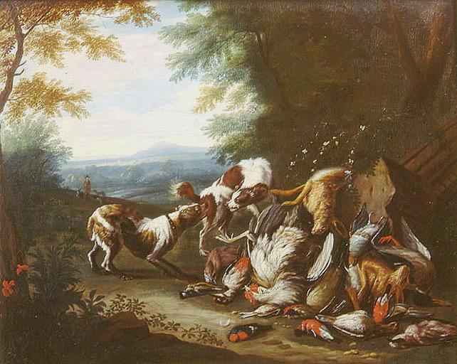 GRYEF Adriaen de (attribué à) : Deux chiens se disputant du gibier mort