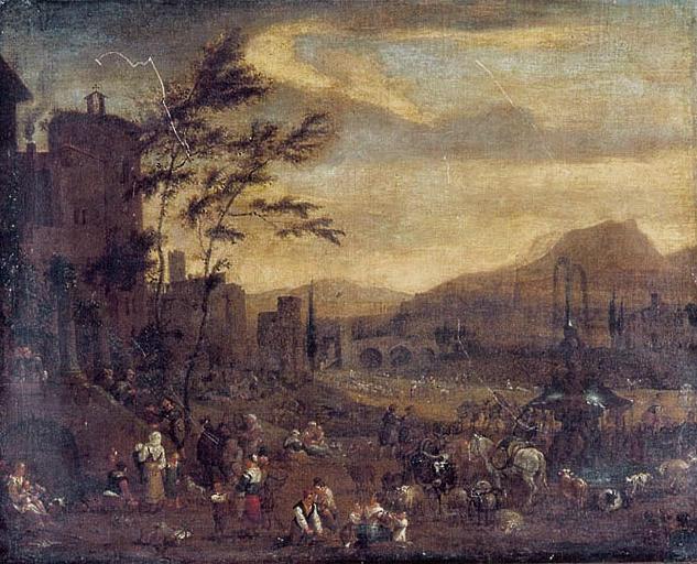 BREDAEL Jan Frans I Van, BREDAEL l'Ancien (dit) : Campement à la porte d'un monastère ou Halte de la tribu dans la  plaine