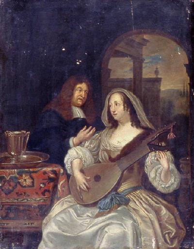 anonyme, MIERIS Frans van le Jeune (d'après) : Femme jouant du Luth